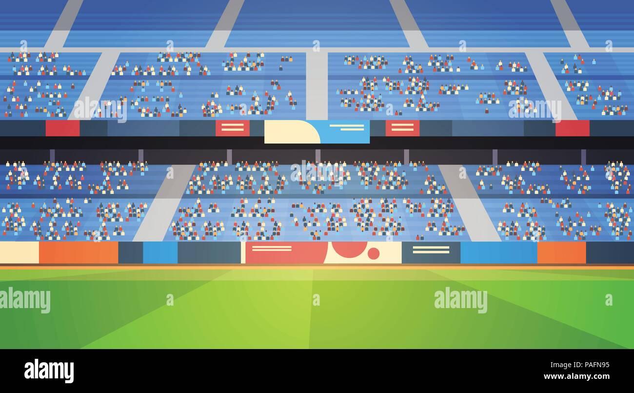 Leeres Fussballstadion Feld Arena Gefullte Tribunen Vor Dem