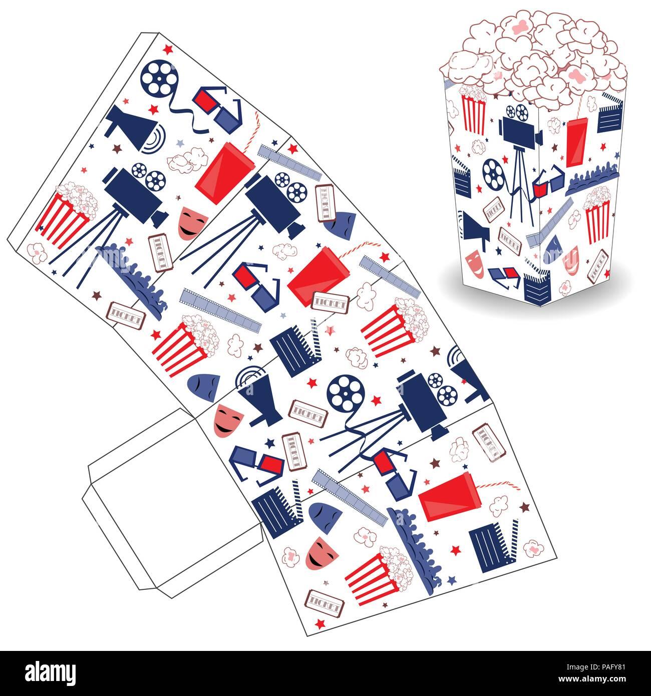 Nettes Popcorn Kino, mit flachen Objekten. Vorlage für Film, Kino ...