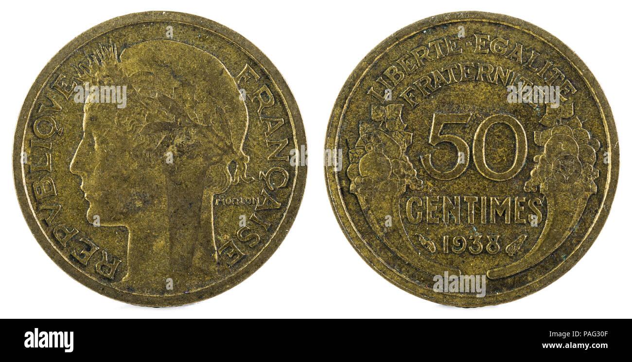 Alte Französische Münze 50 Centimen 1938 Stockfoto Bild