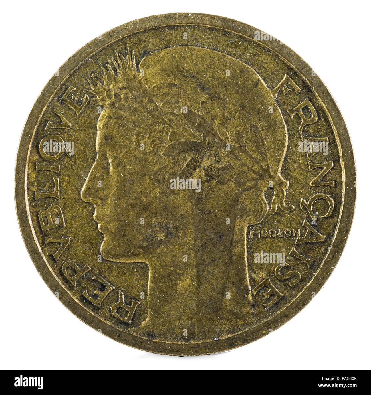 Alte Französische Münze 50 Centimen 1938 Vorderseite Stockfoto