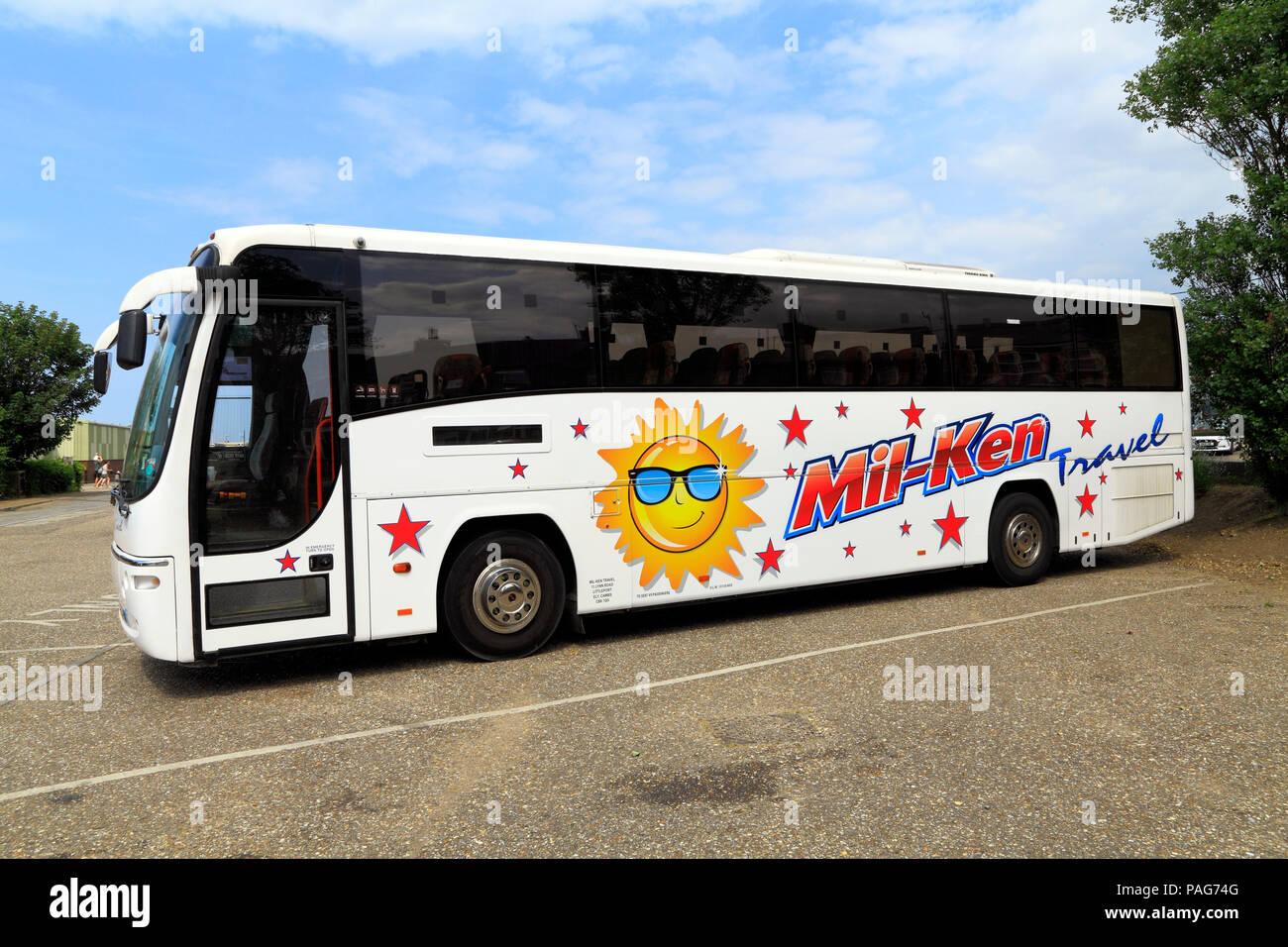 Mil-Ken, Reisebus, Tagesausflüge, Littleport, Cambridgeshire, UK, Urlaub, Trainer, Reisen Stockbild