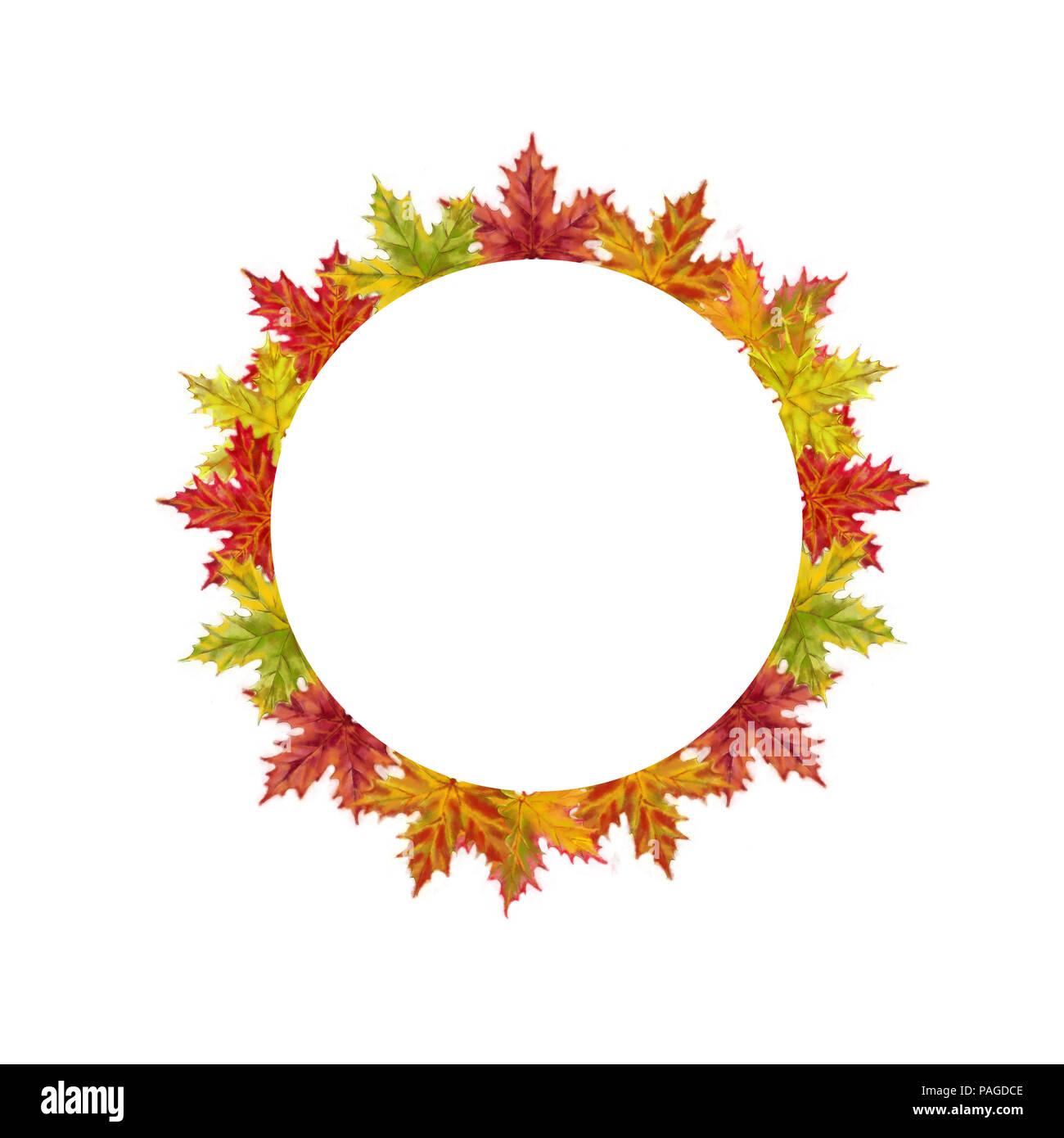 Herbst Ahorn Blätter runde Schablone isoliert auf weißem Hintergrund ...