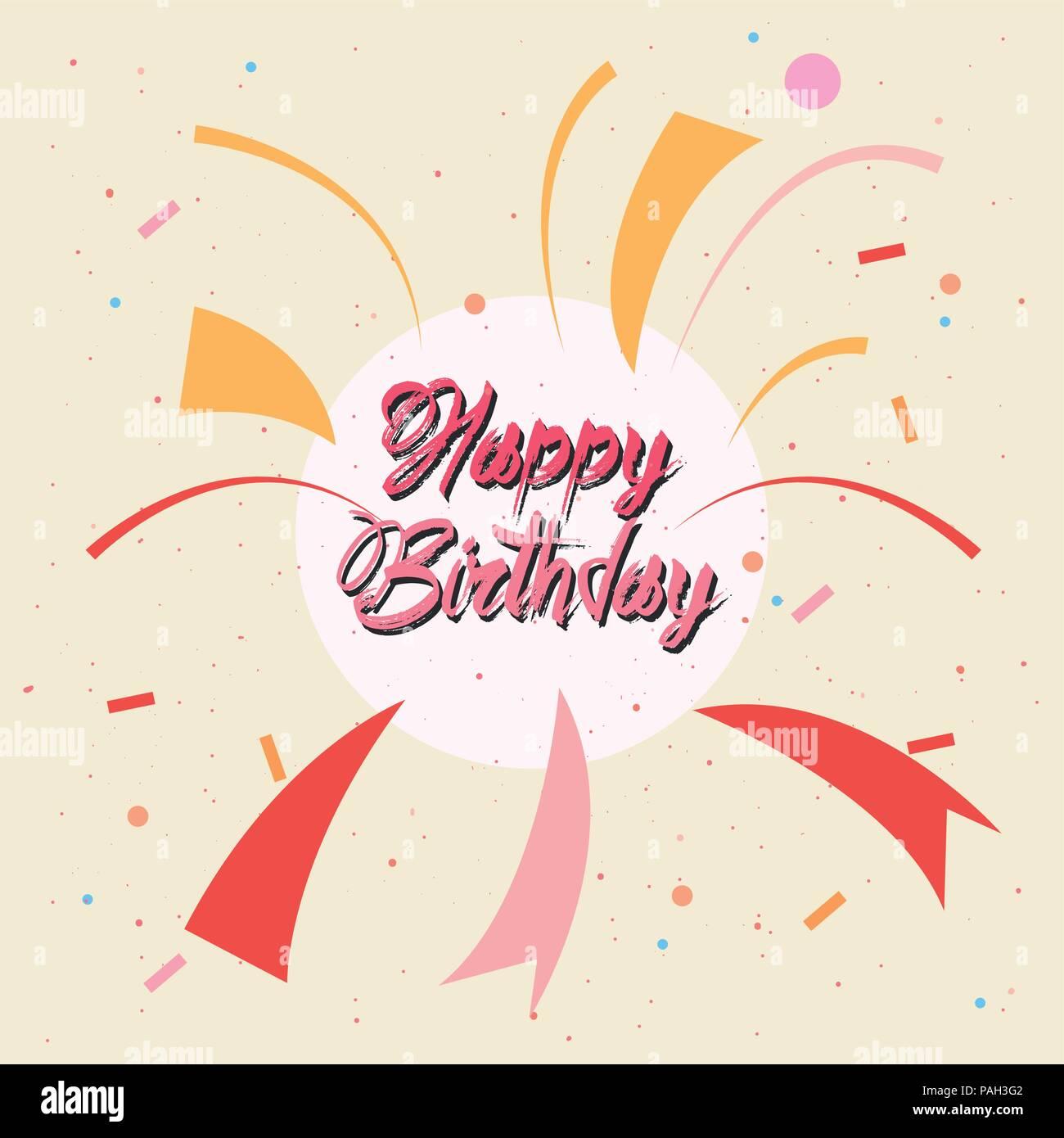 Happy Birthday Card Grunge Retro Stil Vector Illustration