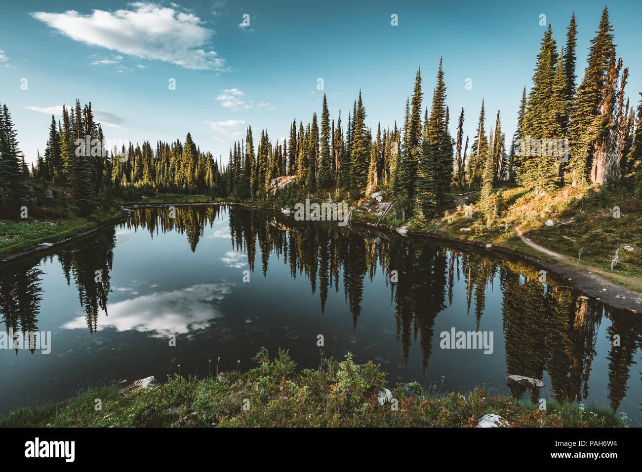 Blick vom See auf dem Gipfel des Mount Revelstoke über Wald mit blauen Himmel und Wolken. British Columbia Kanada. Stockbild