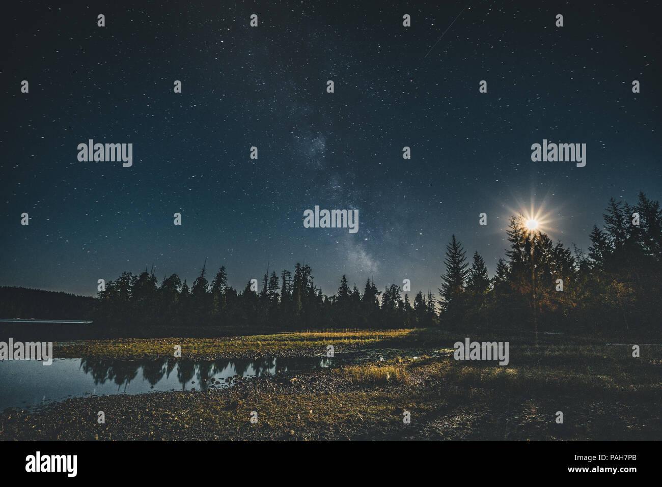 Milchstraße Nachthimmel über Wald mit Mond und Reflexion. Vancouver Island Tofino, Kanada Stockbild