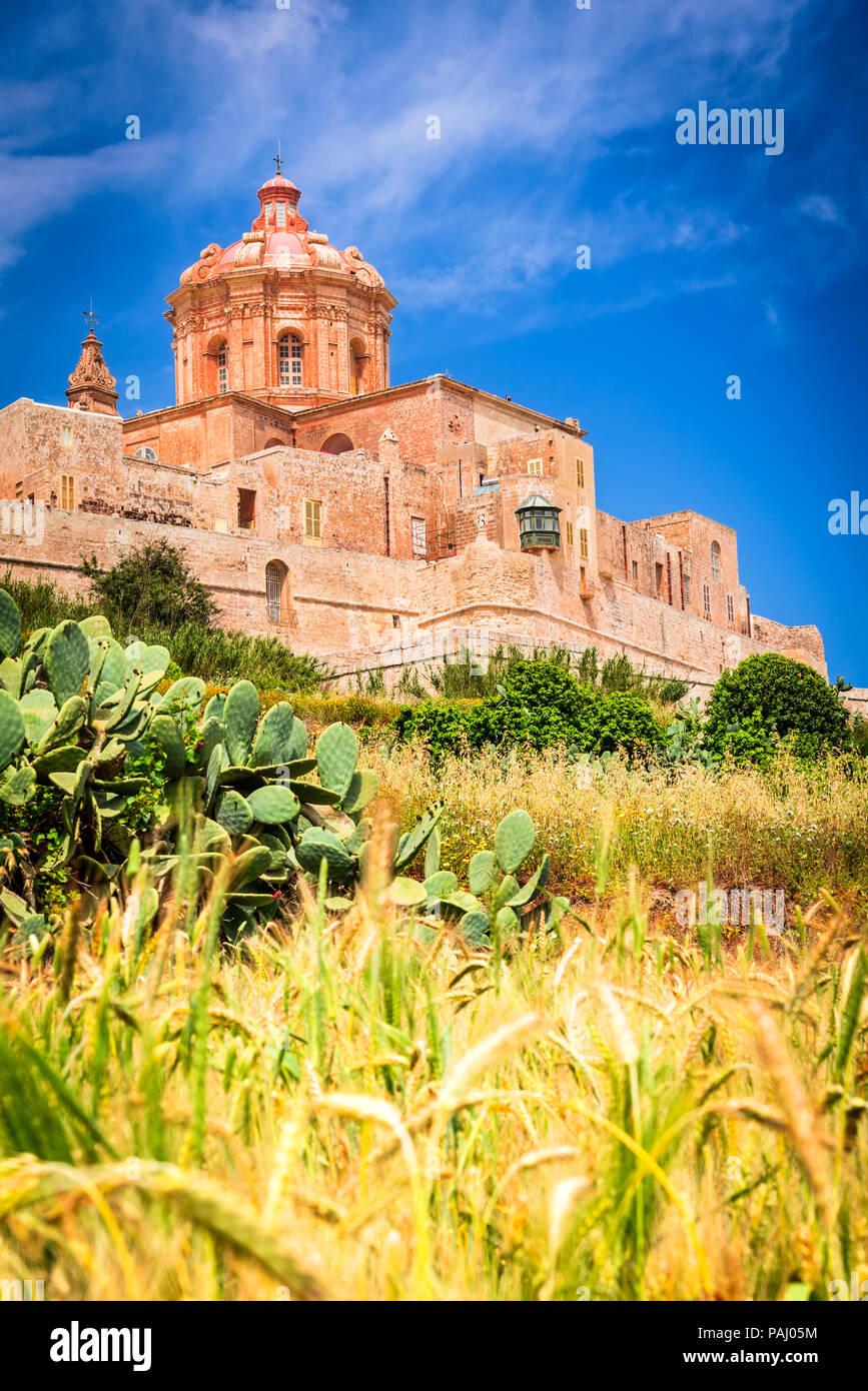 Mdina, Malta - eine befestigte Stadt in der nördlichen Region von Malta, der alten Hauptstadt der Insel. Stockbild