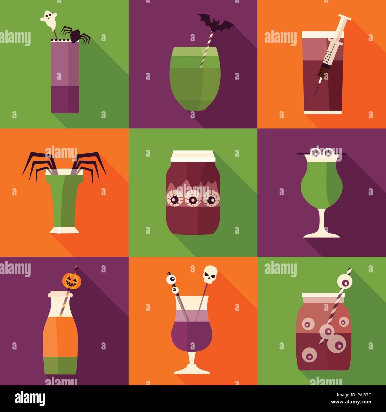 Spooky Halloween Cocktail Drinks und shots Symbole. Creepy ...