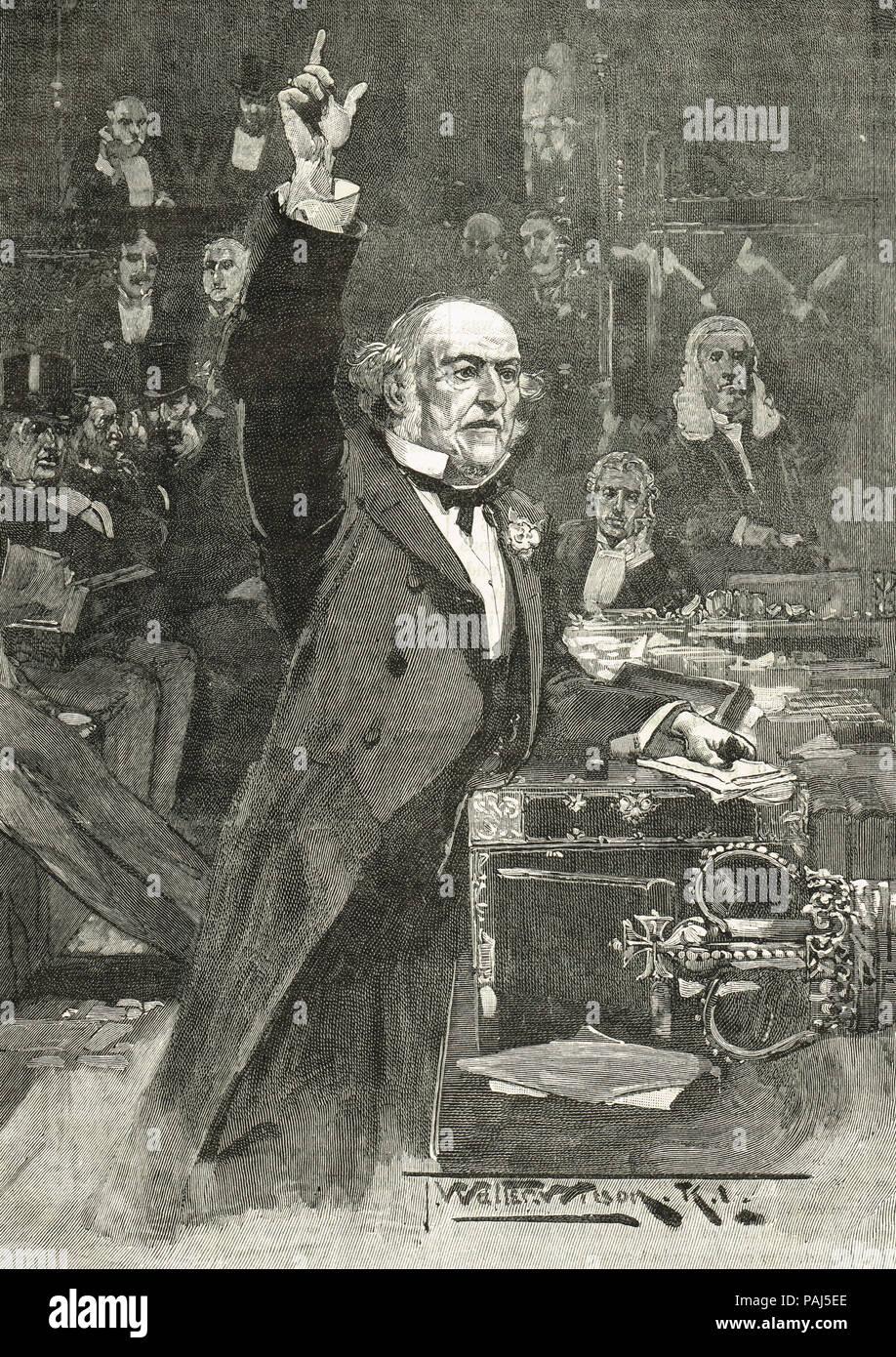 William Gladstone Rede, die Einführung der Home Rule Bill, 8. April 1886 Stockbild