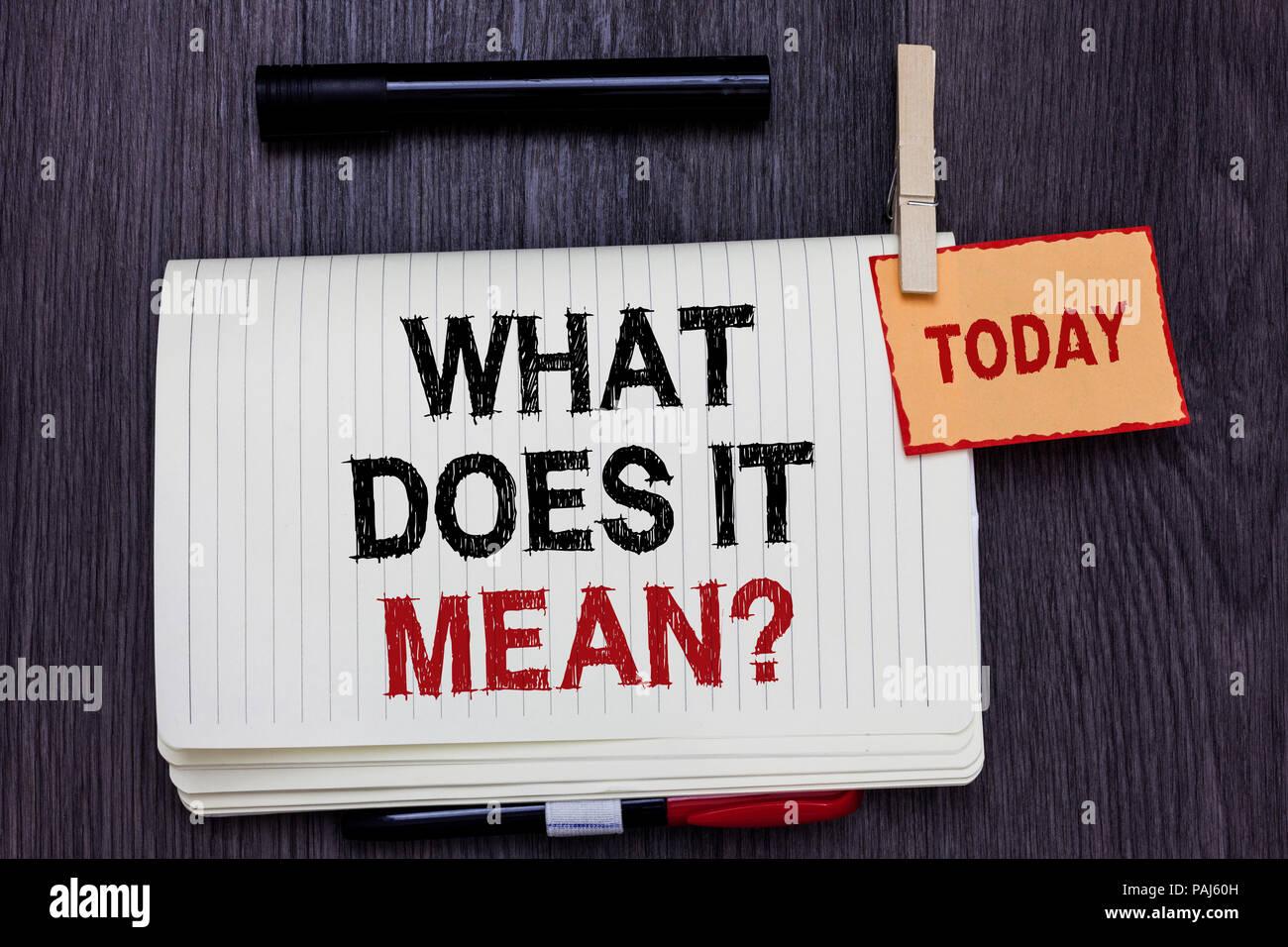 Handschrift Text schreiben Was bedeutet es, Frage. Konzept ...