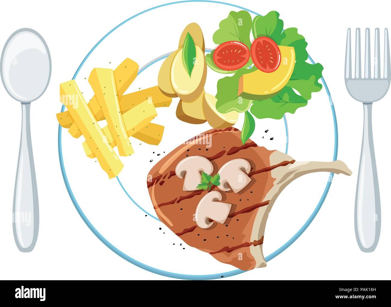 Eine Platte der schweinekotelett Pommes und Salat Abbildung Stockbild