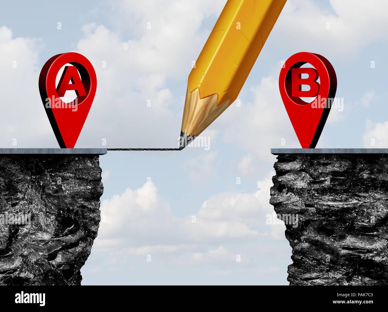 A bis B Position Roadmap und GPS-Navigator pin Zeichnung eine Verbindung zu einem Ziel Herausforderung, da ein Geschäft Metapher Konzept Point. Stockbild