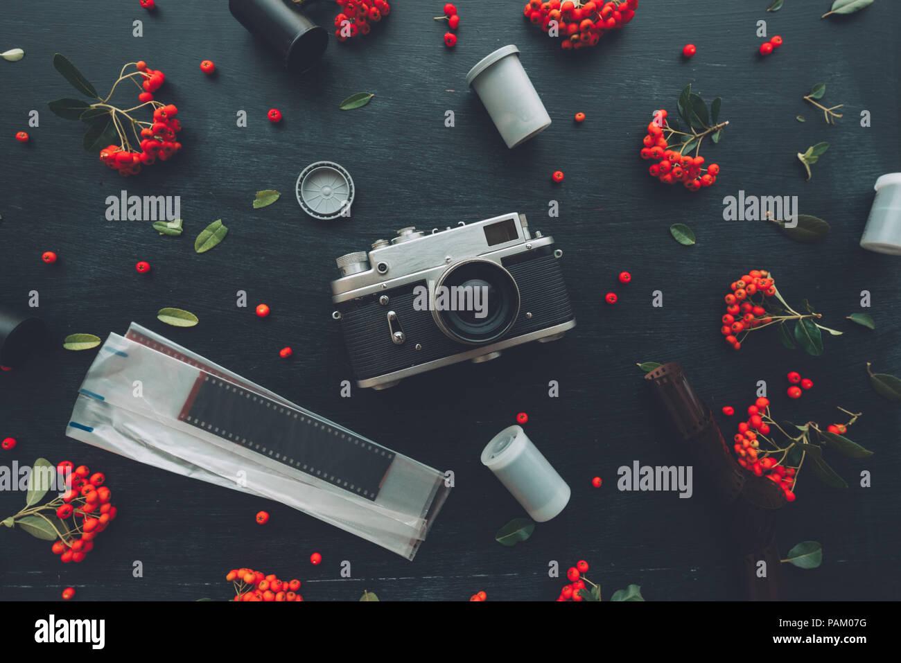 Flach hipster style Old vintage Fotografie Kamera auf dunklem Hintergrund mit Blumenschmuck Stockfoto