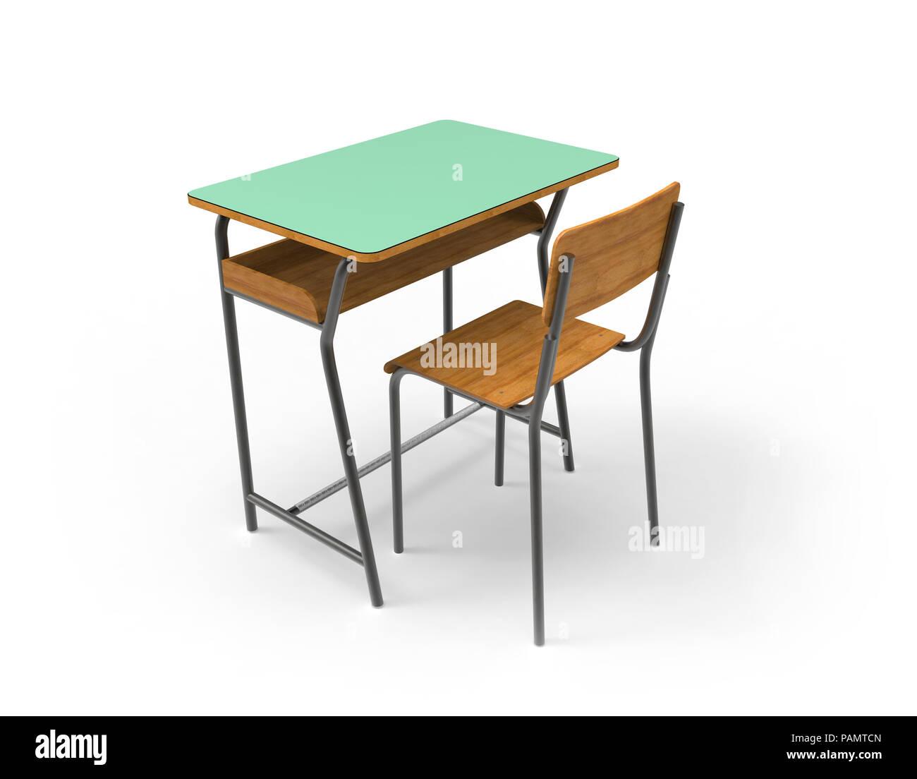 schule schreibtisch mit stuhl auf wei em hintergrund stockfoto bild 213129189 alamy. Black Bedroom Furniture Sets. Home Design Ideas