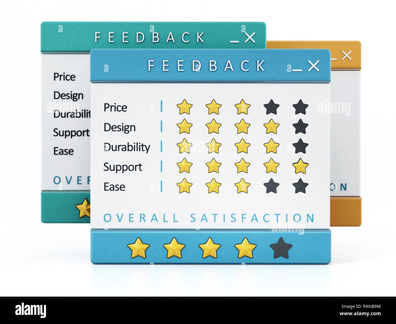 Umfragen zur Kundenzufriedenheit auf weißem Hintergrund. 3D-Darstellung. Stockbild