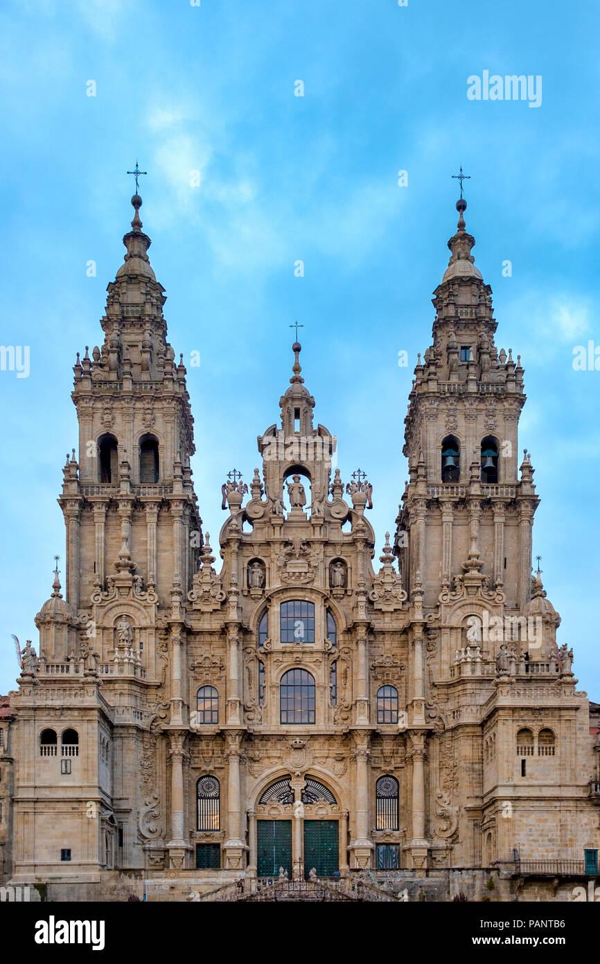 Blick auf die Kathedrale von Santiago de Compostela, Santiago de Compostela, Galicien, Spanien Stockfoto