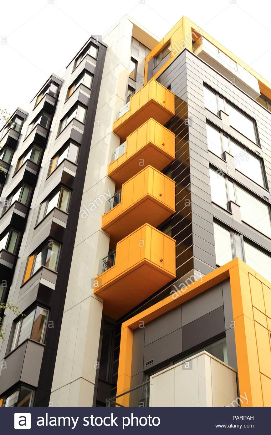 Moderne, zeitgenössische Architektur im Trend Northern Quarter in Manchester, UK. Sommer Juli 2018 Stockbild