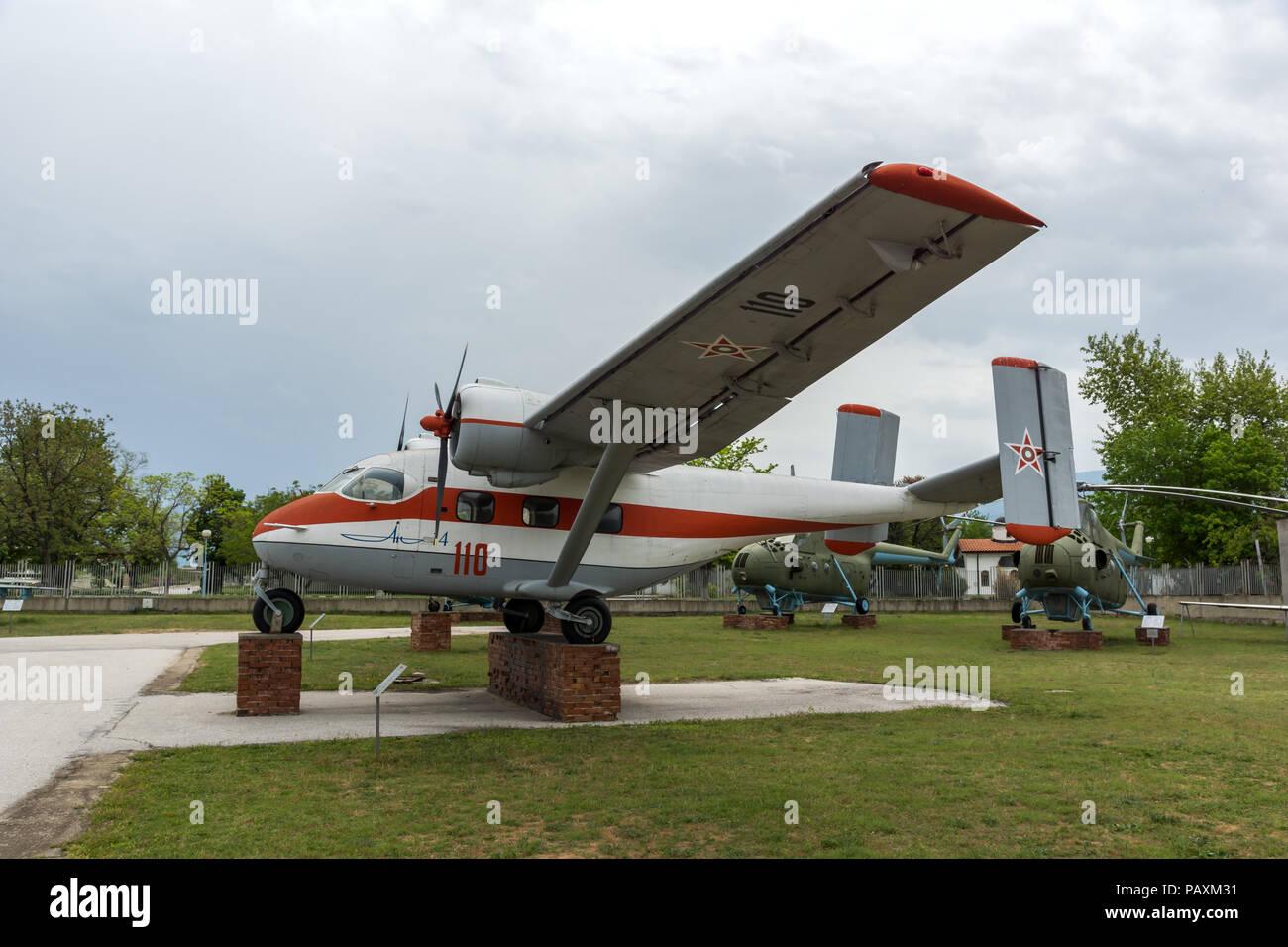 KRUMOVO, Plovdiv, Bulgarien - 29 April 2017: Aviation Museum in der Nähe von Flughafen Plowdiw, Bulgarien Stockfoto