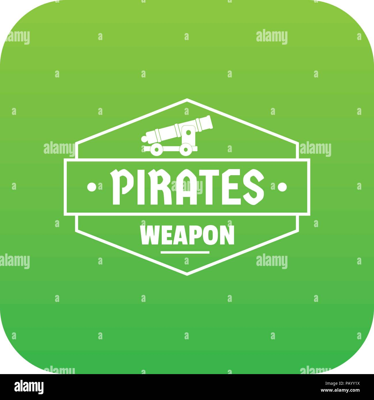 Piraten Kanone Symbol grün Vektor Stockbild
