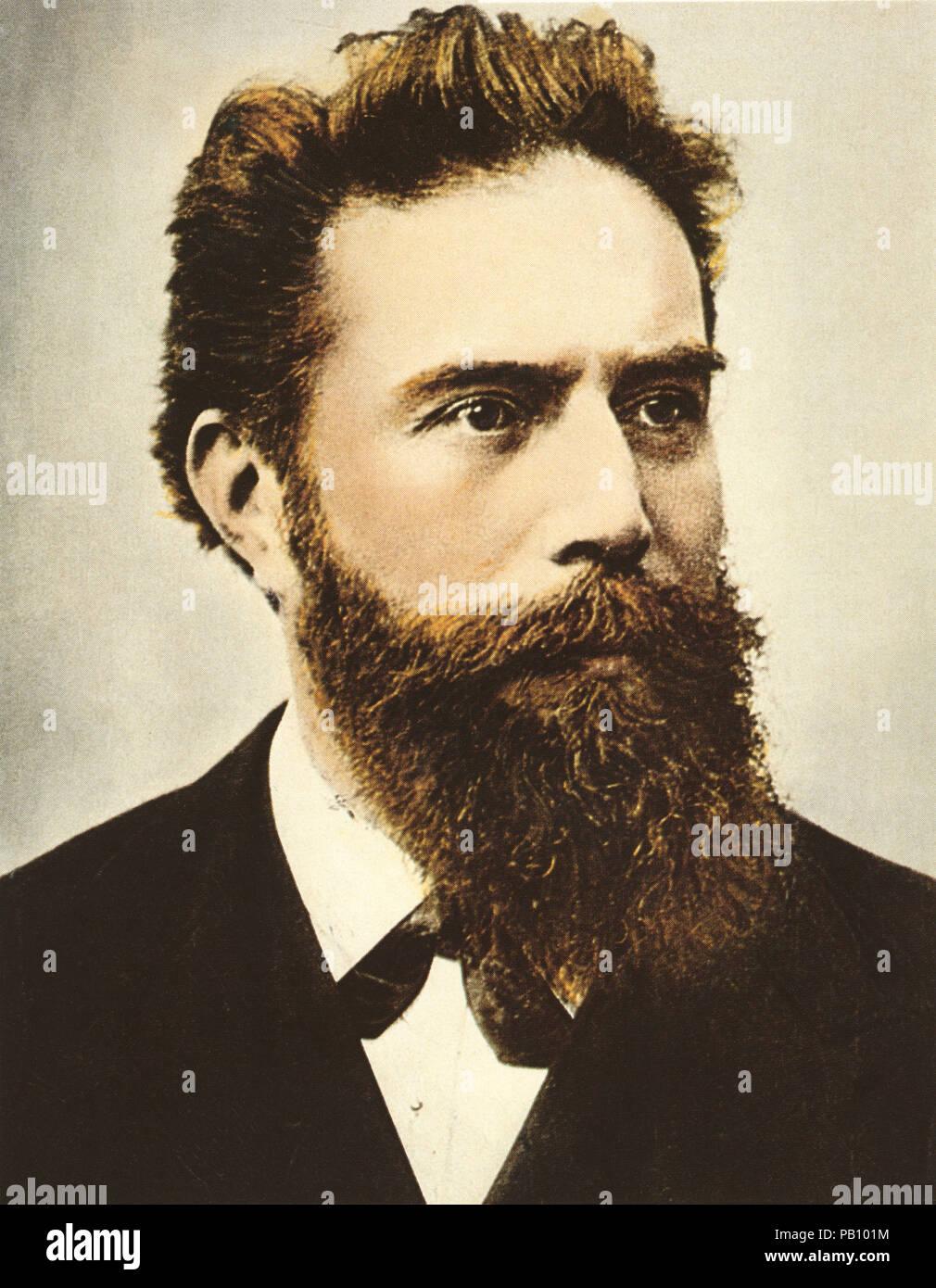 Wilhelm Conrad Röntgen (1845-1923), deutscher Ingenieur und Physiker, erwarb den ersten Nobelpreis für Physik 1901, Porträt, 1900 Stockbild
