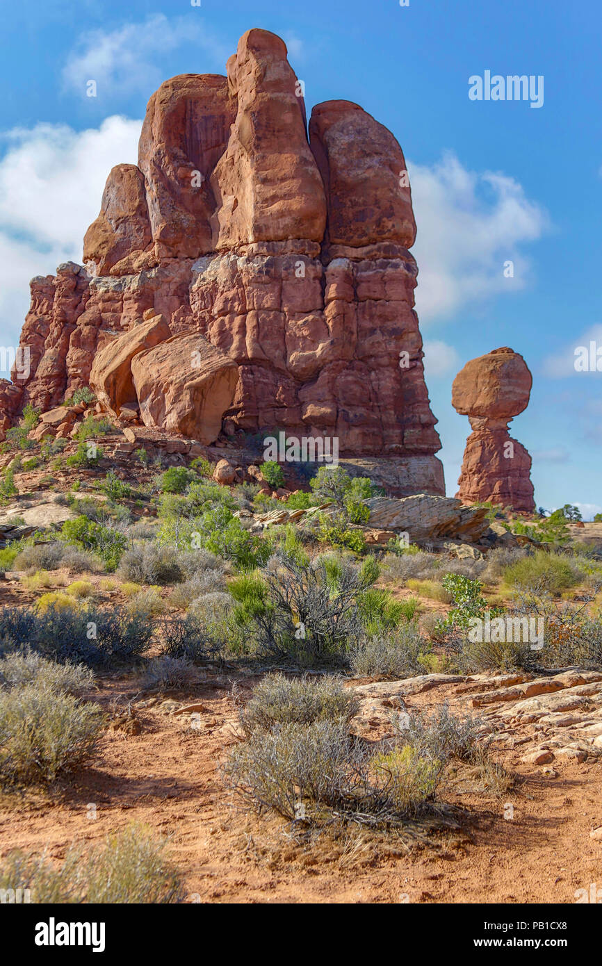 Balance Rock im Arches National Park, Moab Utah Stockbild