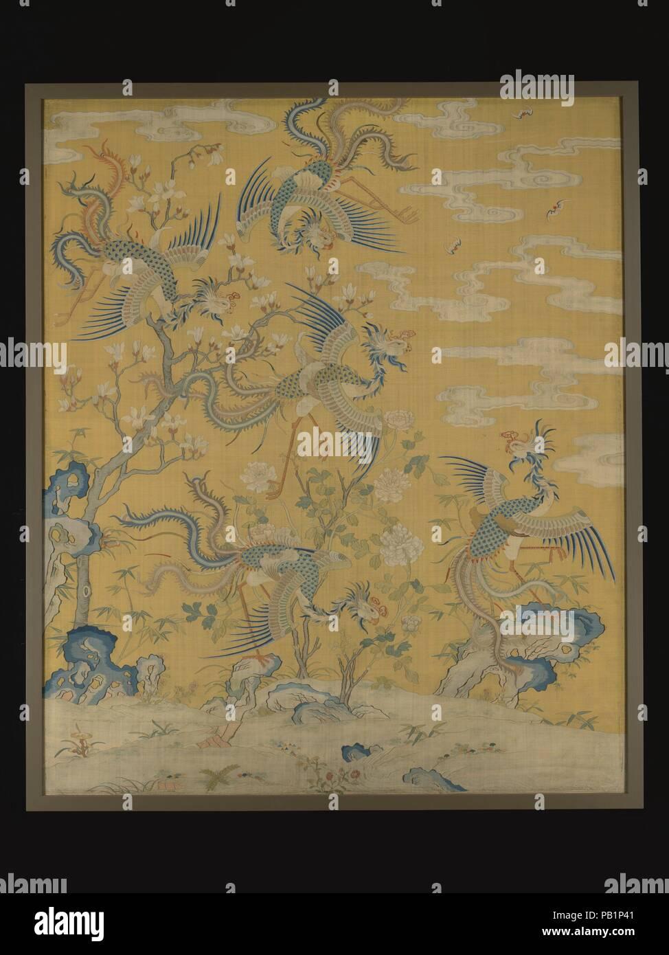 Panel Mit Fünf Phoenixes In Einem Garten Kultur China Abmessungen