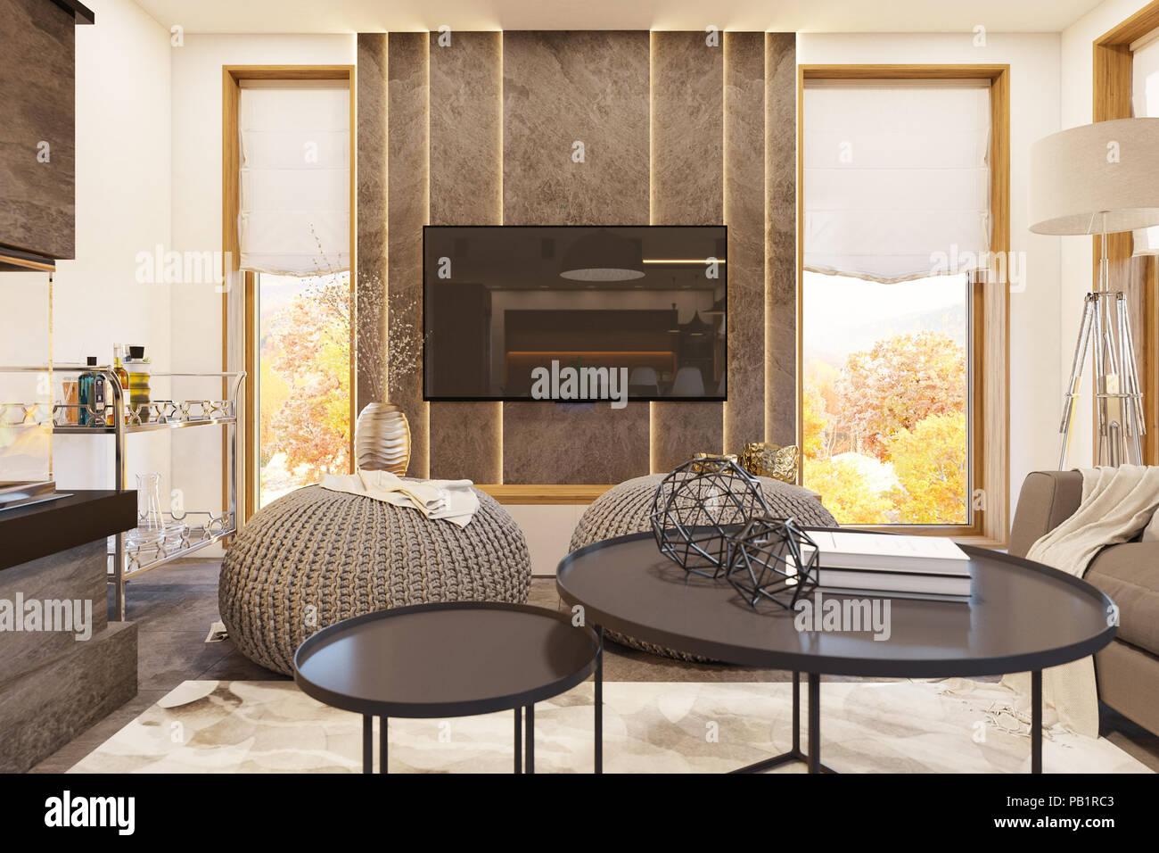 Wohnzimmer Mit Kamin Modernes Haus In Den Skandinavischen Minimalistischem Stil Hygge Interior 3d Rendern 3d Darstellung Stockfotografie Alamy