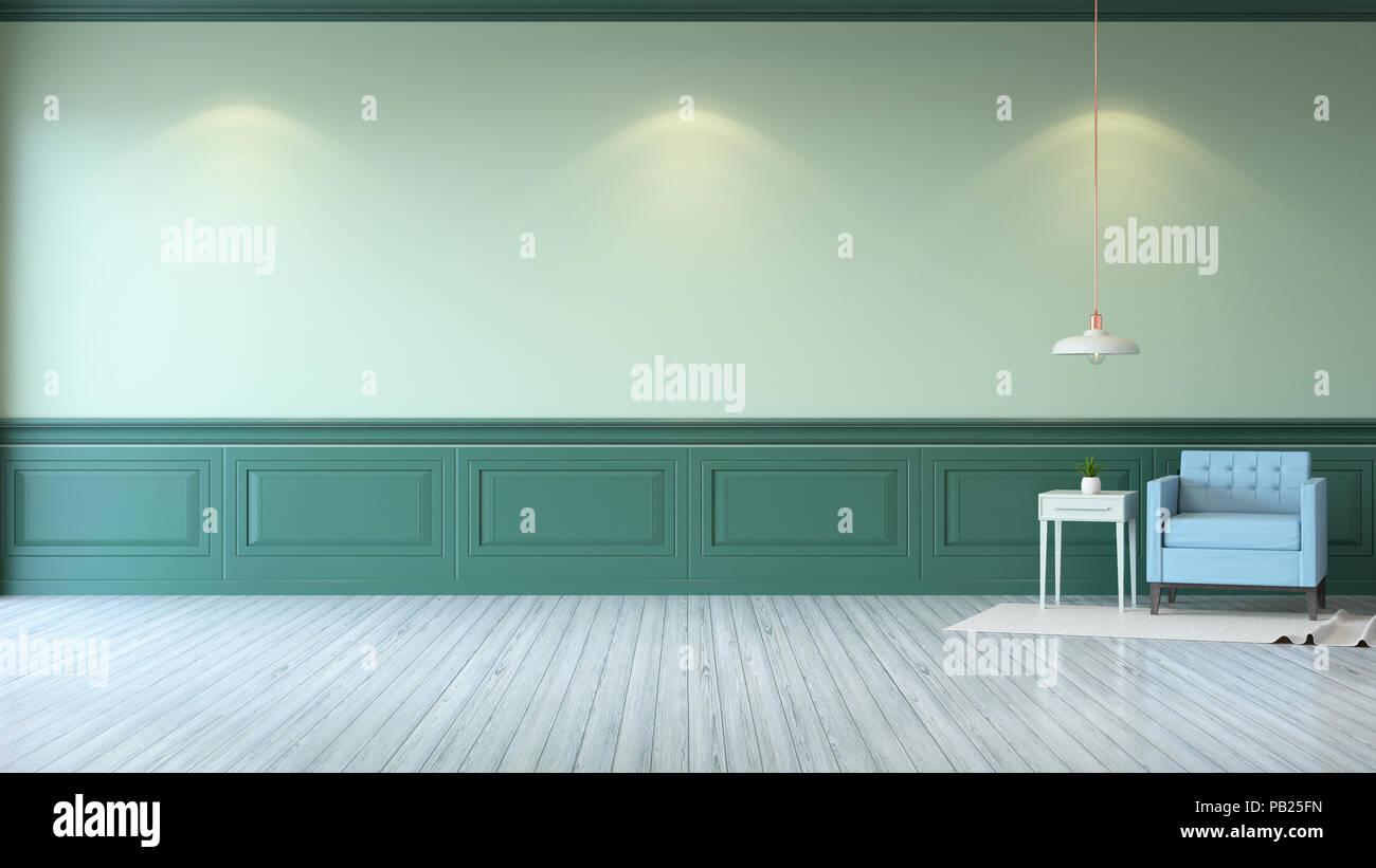 Vintage green room minimalistischen interieur hellblau sessel