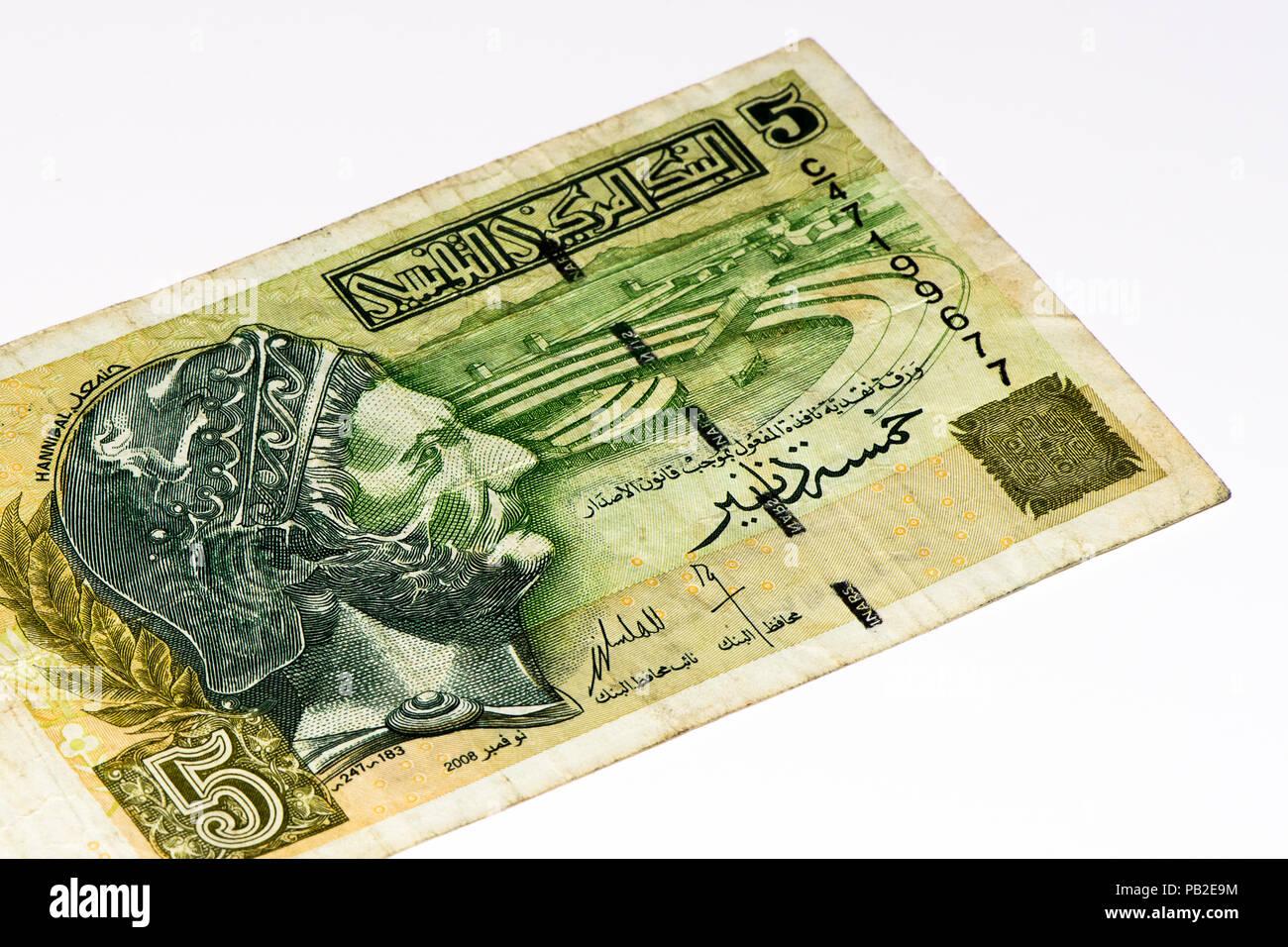 5 Tunesischer Dinar Bank Note Tunesischer Dinar Ist Die Nationale