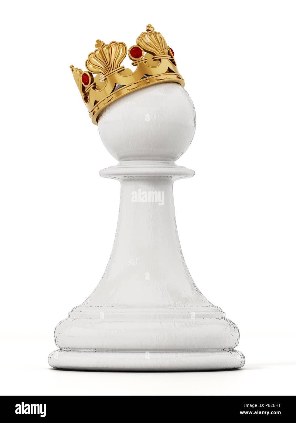 Weiß schach Bauer mit goldener Krone. 3D-Darstellung. Stockbild