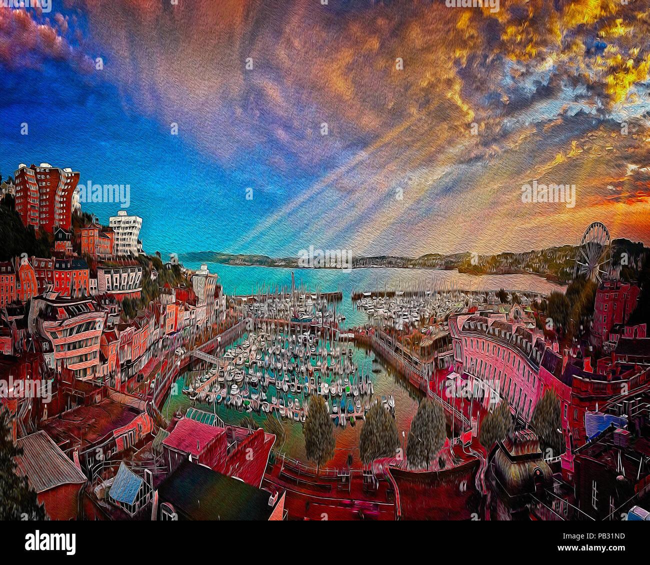 Digitale Kunst: der Hafen von Torquay & Stadt bei Sonnenuntergang, Devonshire, Großbritannien Stockbild