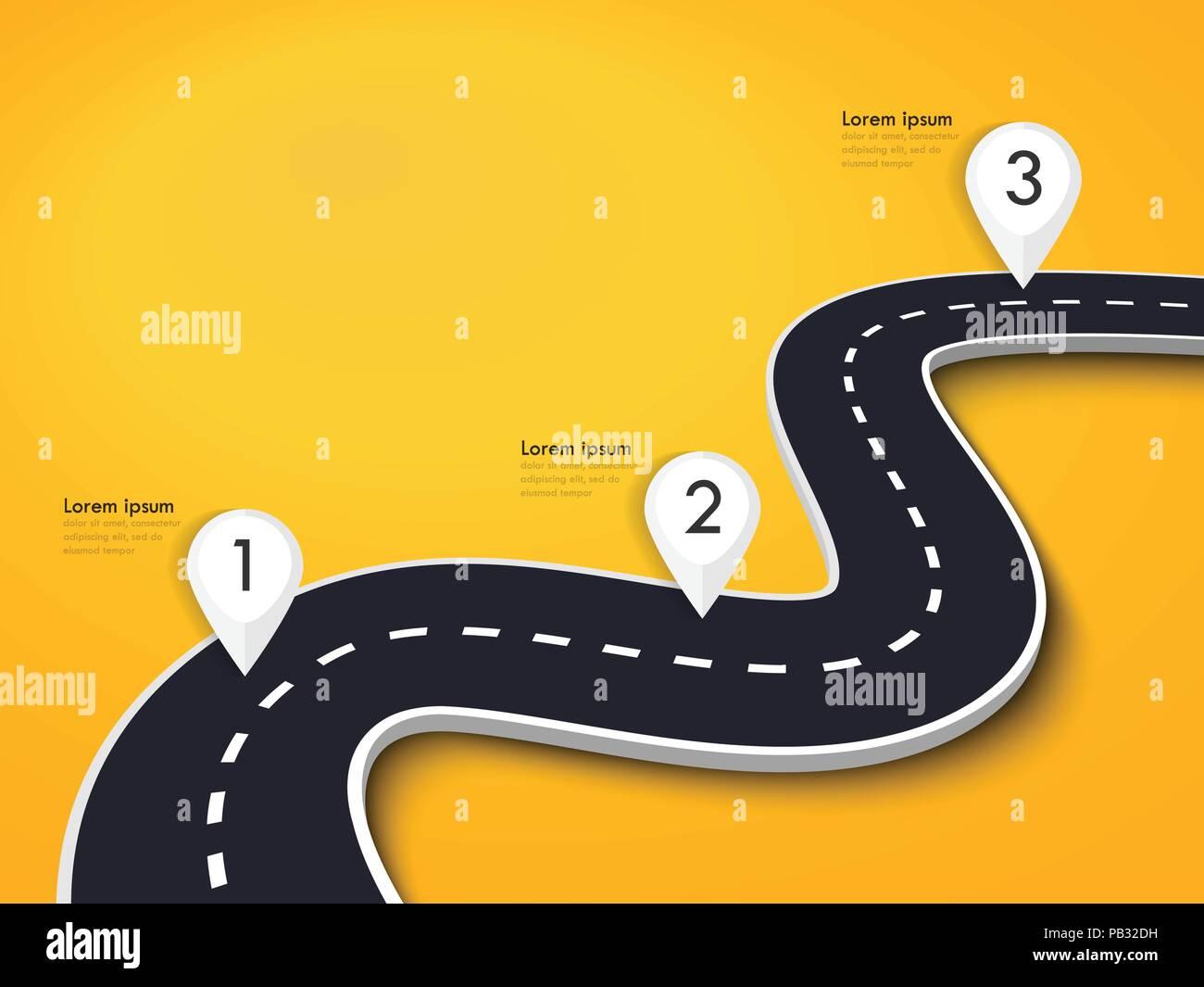 Kurvenreiche Straße auf einen farbigen Hintergrund. Straße Ort Infografik Vorlage mit Pin Pointer. Vector EPS 10. Stockbild