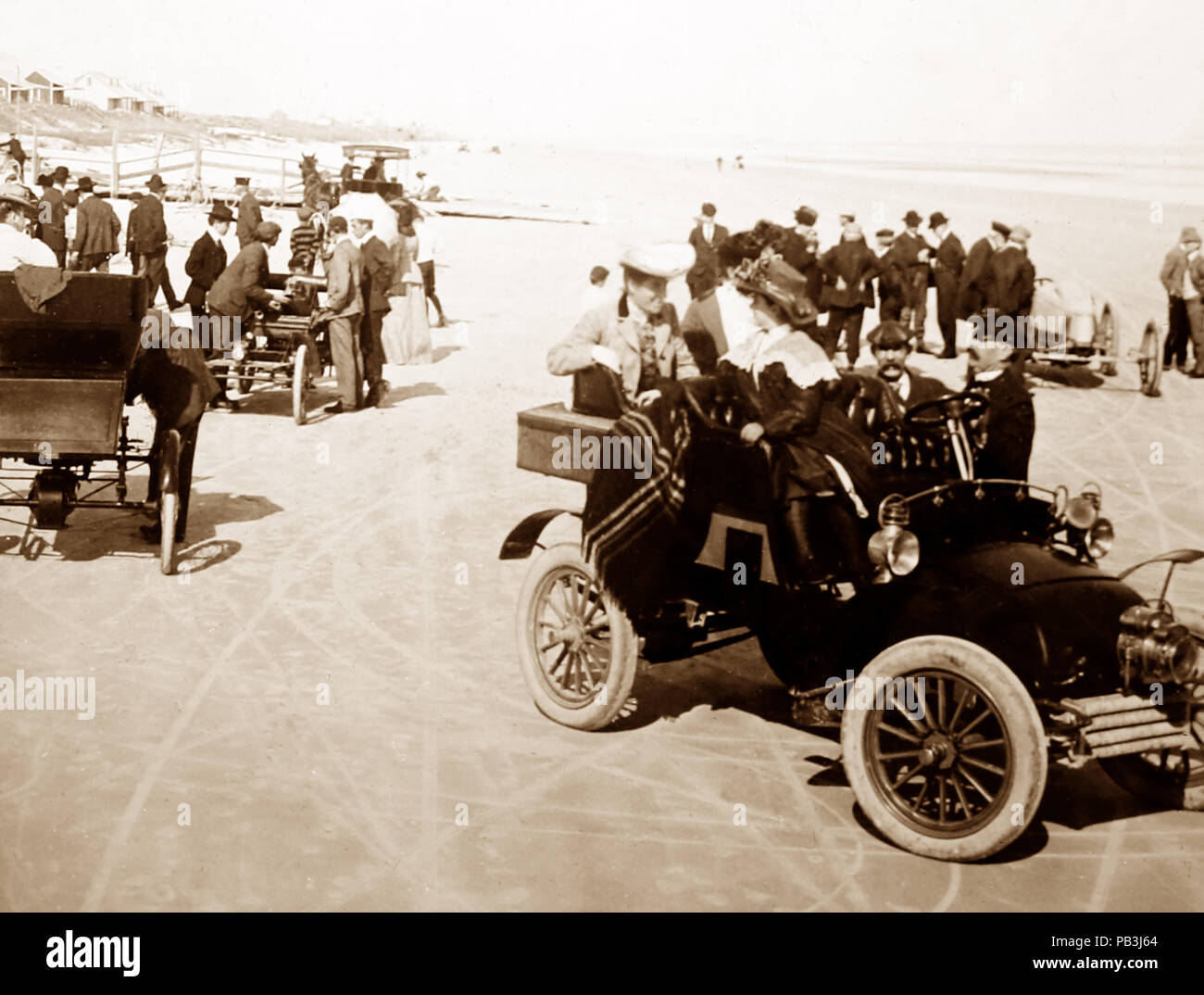 Rennstrecke Daytona Beach, USA, 1900 Stockbild