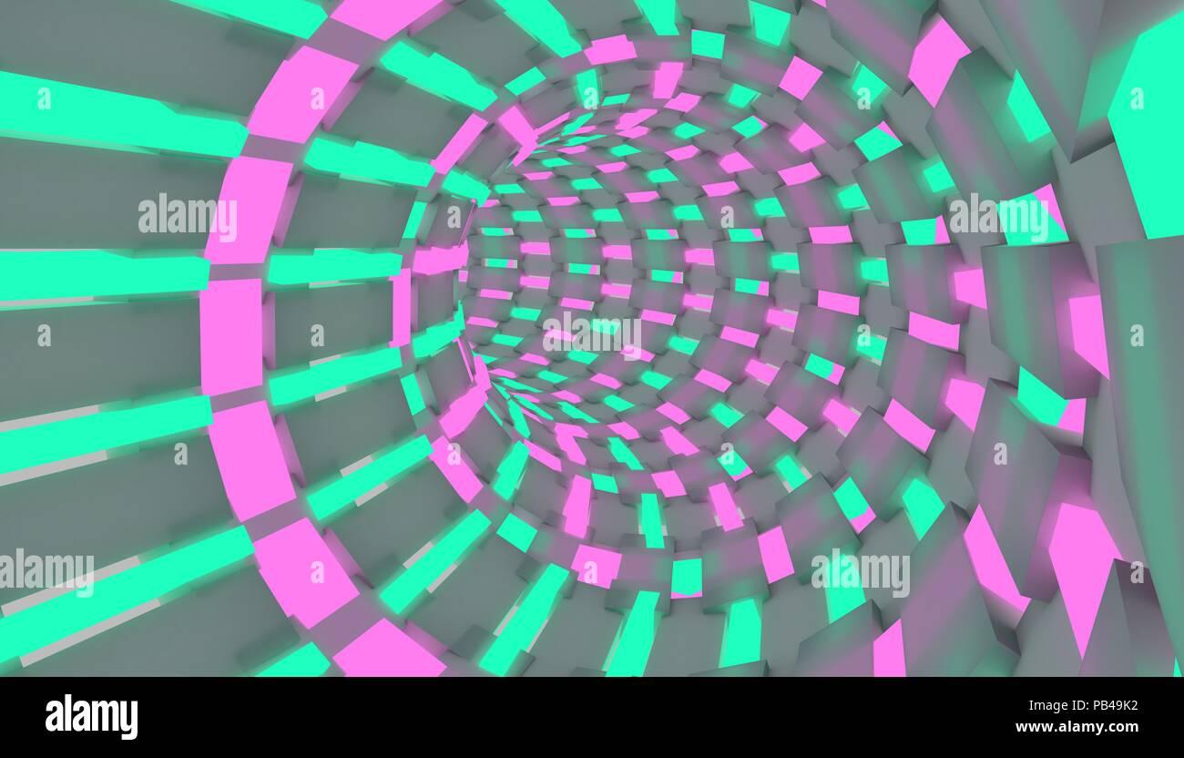 Sci-fi Abbildung: ein Flug durch Tunnel. Neon Tube 3D-Render design Stockbild