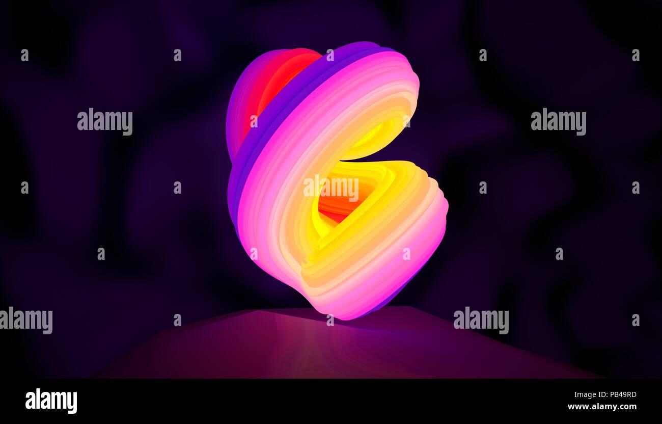 Abbildung: ein abstraktes Logo neon Form drehen. 3D-Darstellung Stockbild