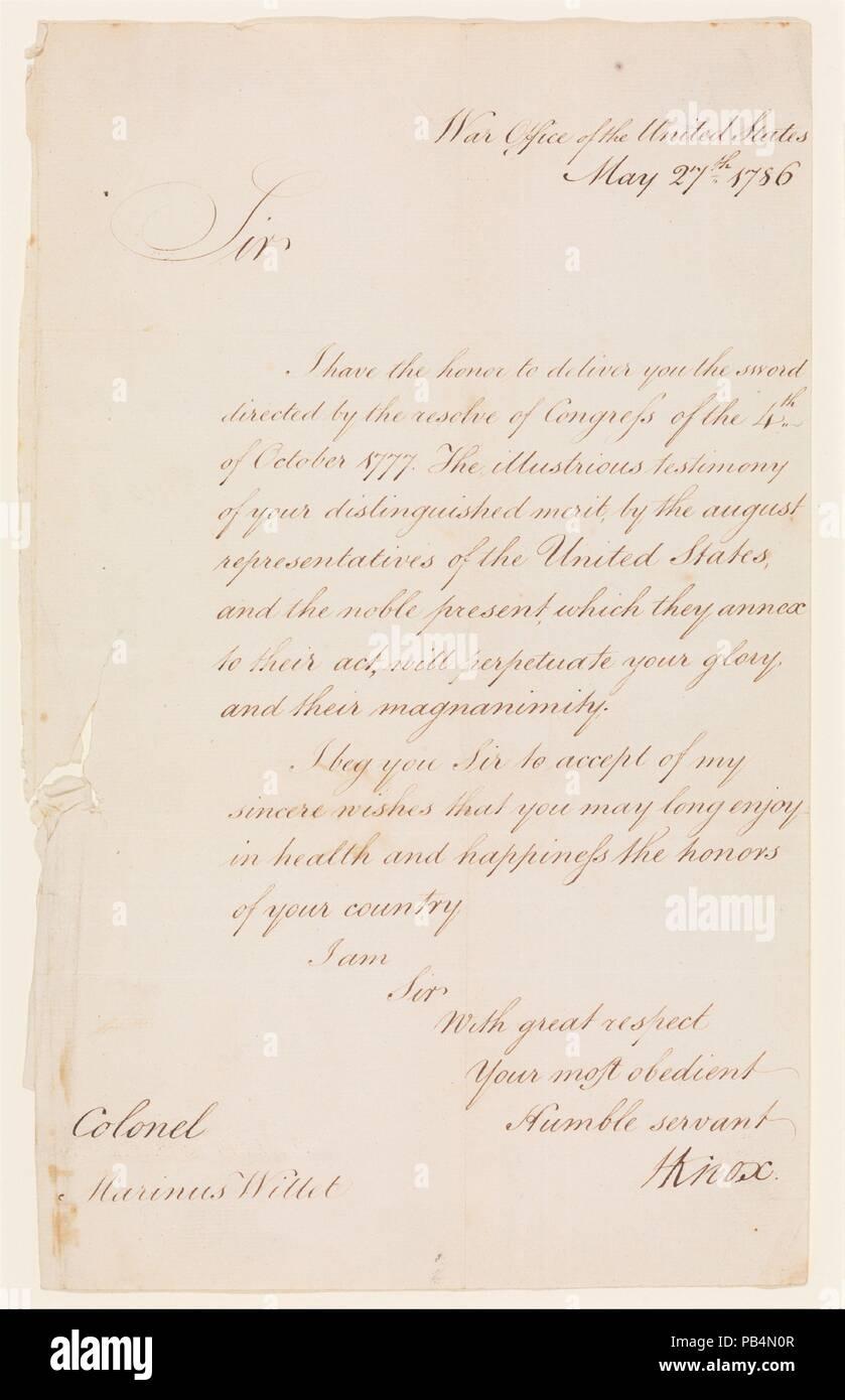Brief Von Henry Knox 1750 1806 Sekretär Des Krieges Zu Oberst