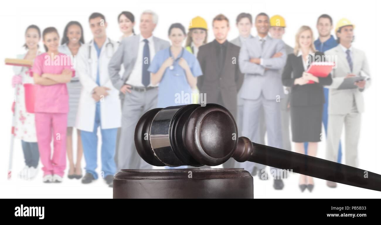 Hammer und Menschen in verschiedenen Berufen Stockbild