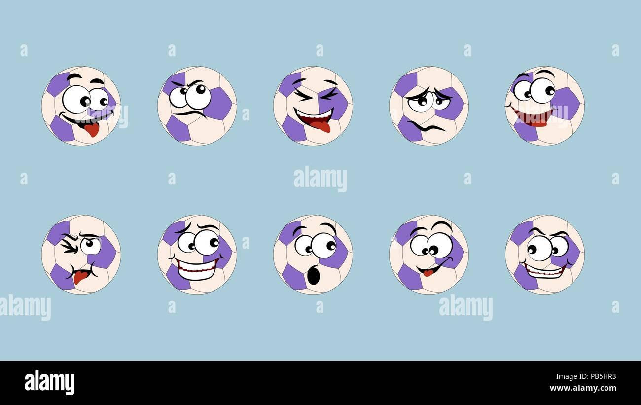 Smiley Ball Fussball Satz Von Emoticons Emoji Symbol Auf