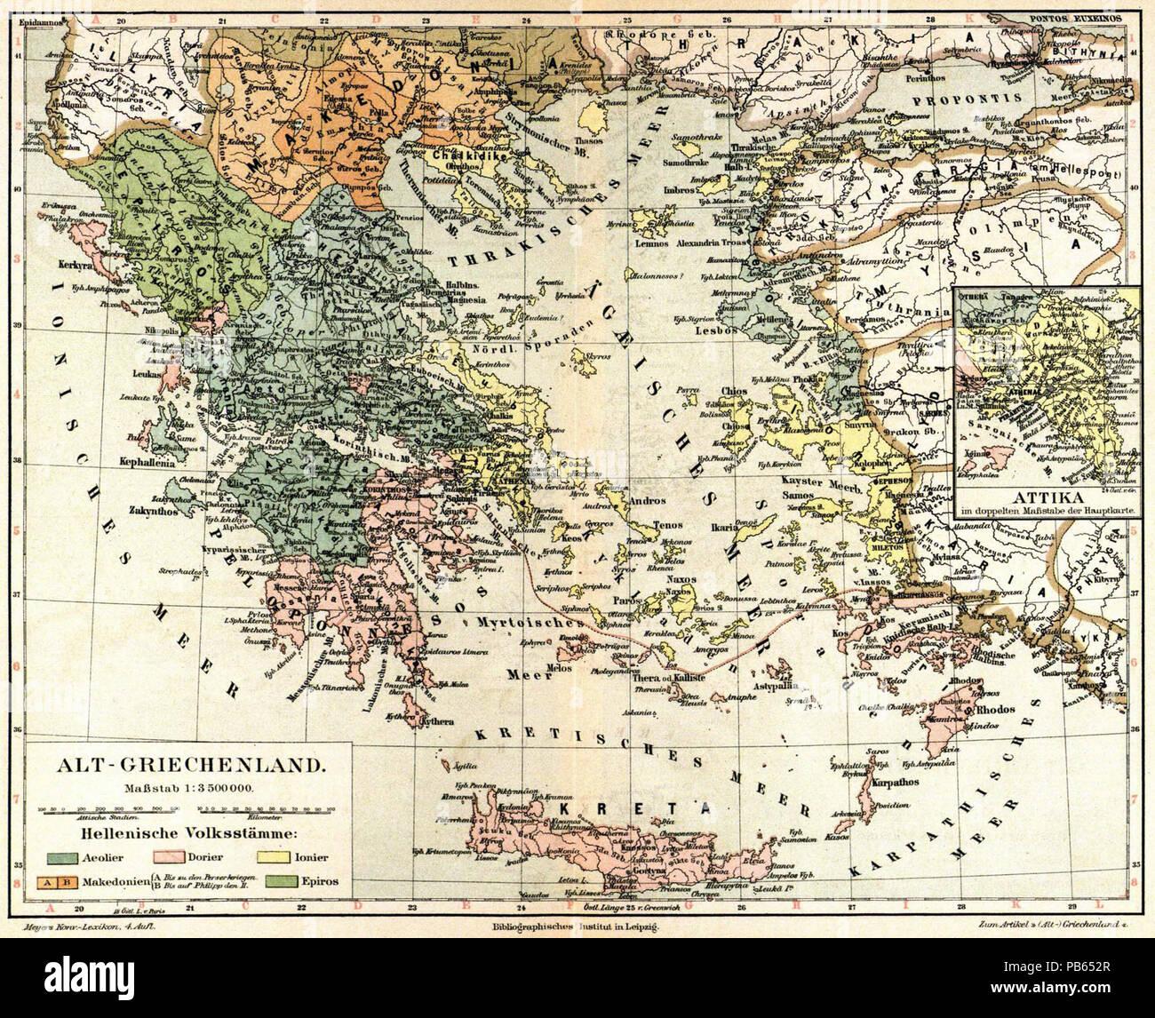 Karte Griechenland Deutsch.Deutsch Karte Alt Griechenland 1 3 500 000 Nebenkarte