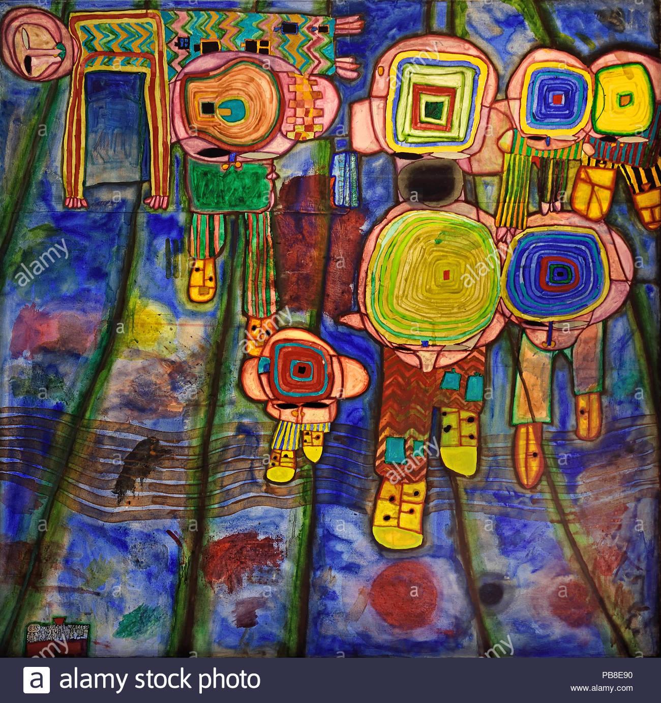 Friedensreich Regentag Dunkelbunt Hundertwasser Stockfotos