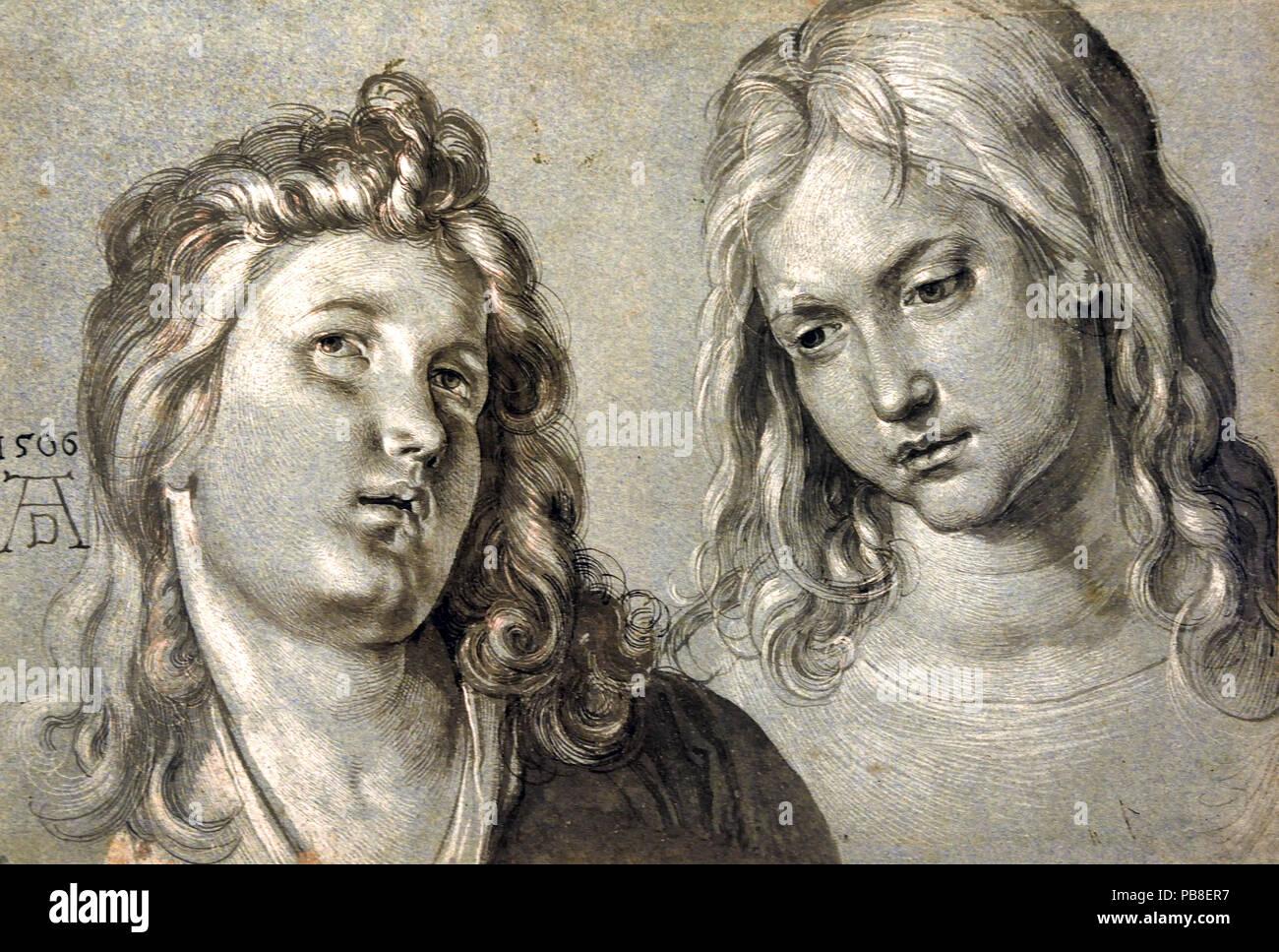 Zwei Engel Köpfe 1506 Albrecht Dürer 1471 - 1528 Deutscher Deutschland Stockbild
