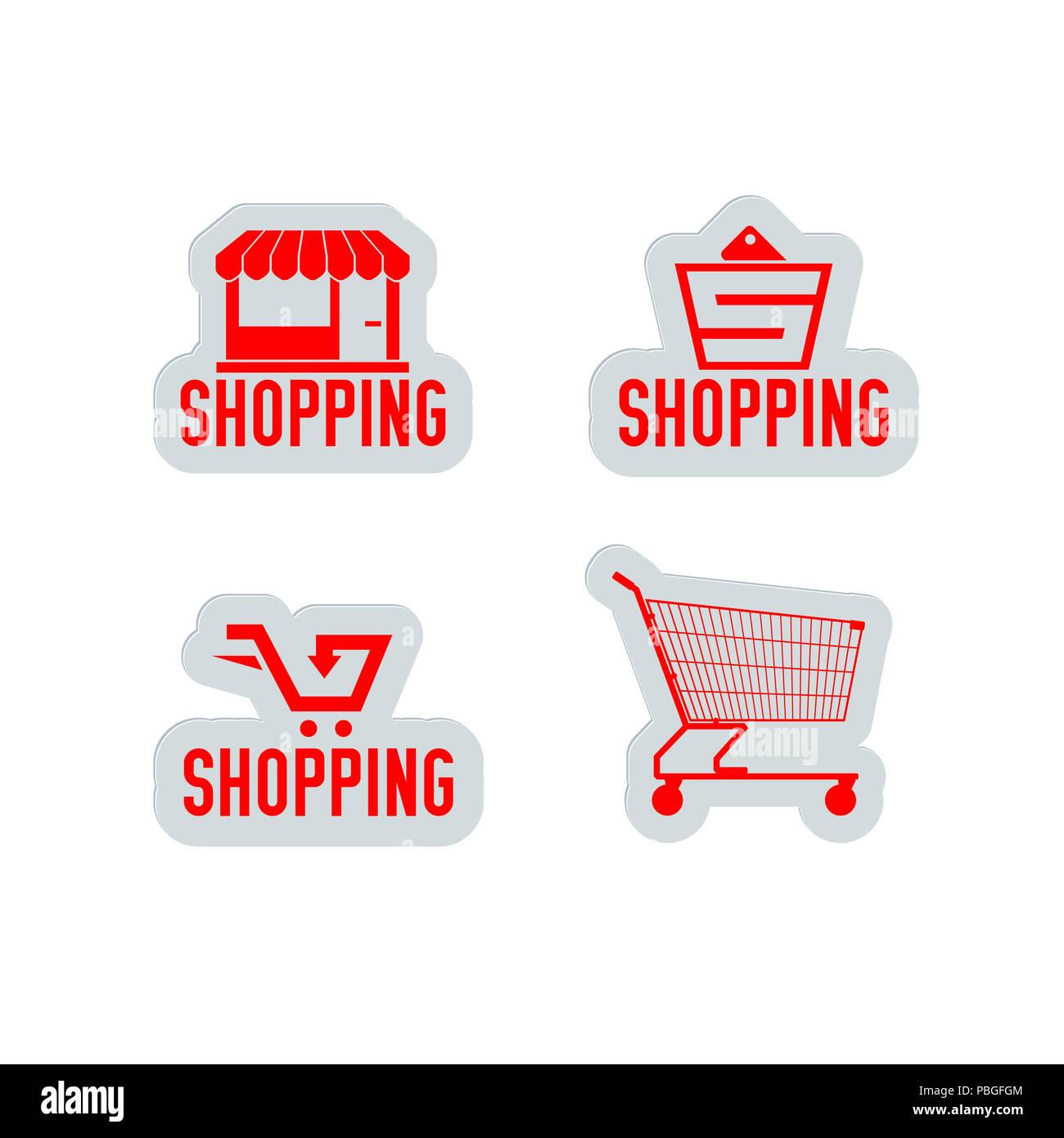 Kauf Und Verkauf Shopping Labels Designelemente Für Web