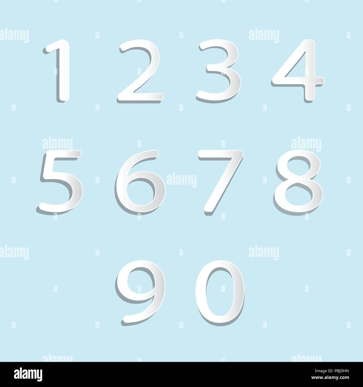 Satz von zehn Zahlen bilden Null bis Neun, die Nummern in der Abbildung. Stockbild