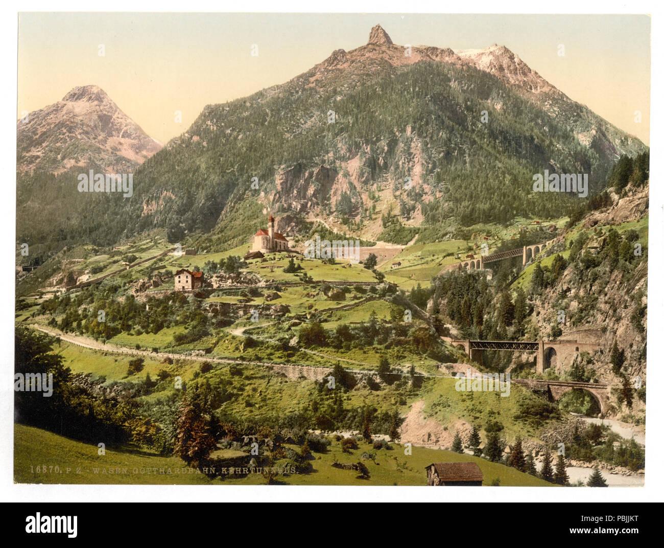 1835 Wassen, die Tunnel, St. Gotthard Bahn, Schweiz - LCCN 2001703203 Stockfoto