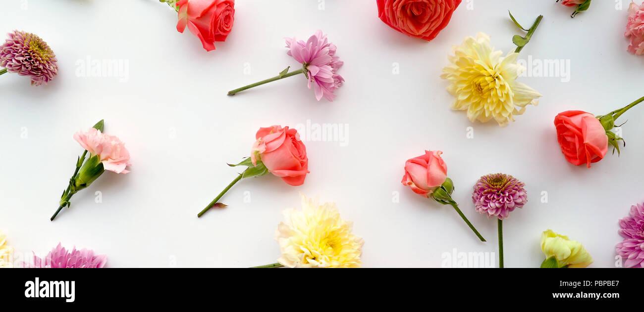 Blumen-Komposition. Gestell aus getrockneten Rosenblüten auf weißem Hintergrund. Flach legen, Top Aussicht. Stockfoto