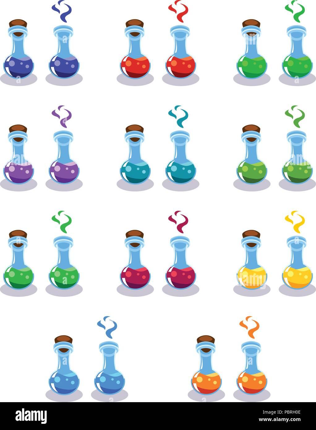 Cartoon Flaschen mit Gift in verschiedenen Farben Stock Vektor