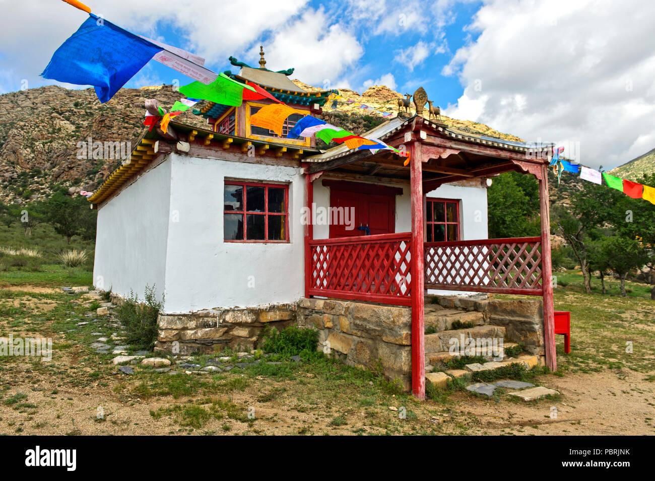 Tempel, unterrain Khamba Kloster, Khugnu Khan Berge, Khögnö Khan Uul Nationalpark, Provinz Bulgan, Mongolei Stockbild