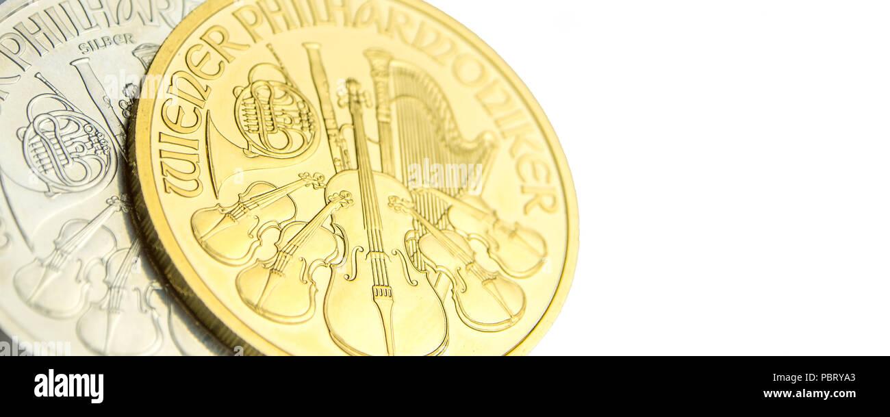 Nahaufnahme Des Silbernen Und Goldenen österreichischen