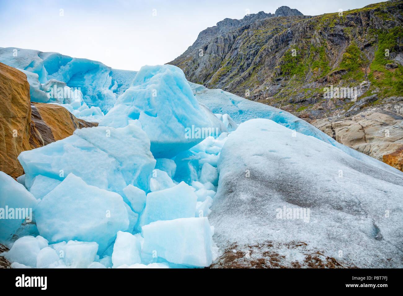 Teil der Svartisen Gletscher in Norwegen Stockbild