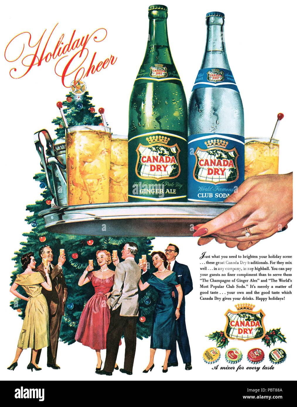 1954 USA Weihnachten Werbung für Canada Dry Ginger Ale und Club Soda ...