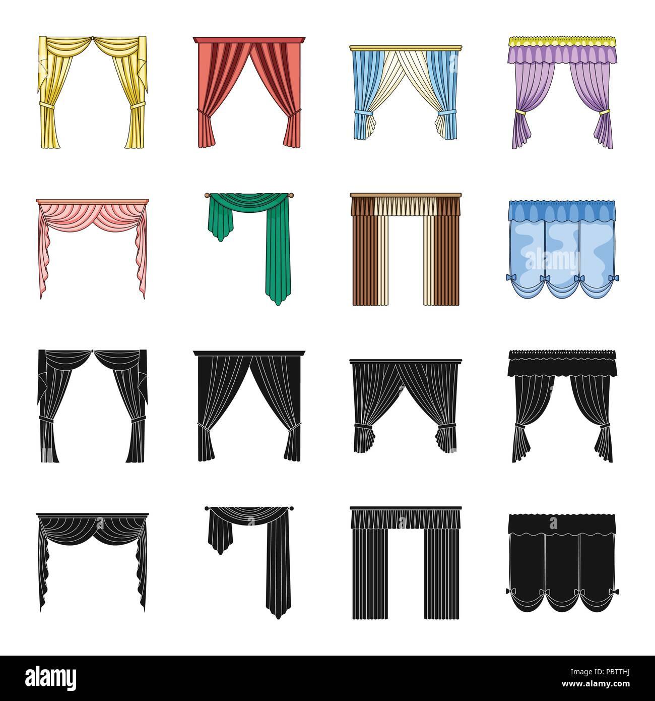 Verschiedene Arten Von Vorhangen Gardinen Set Sammlung Icons In